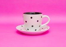 White cup  on pink background Royalty Free Stock Photo