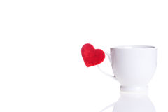 White cup with red heart Royalty Free Stock Photography