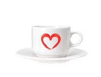 White cup with red heart isolated on white Stock Image