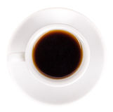 White cup and saucer with coffee top view Royalty Free Stock Image