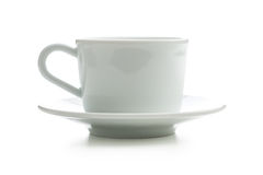 White cup with saucer. Stock Photos