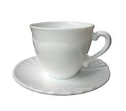 White cup on a saucer isolated on white background Stock Photography