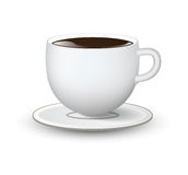 White cup with saucer on white background Stock Photo