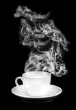 White cup with smoke Stock Photo