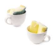 White cup with sponge inside Stock Image