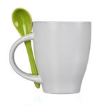 White cup with spoon Royalty Free Stock Photography