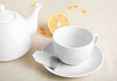 White cup with tea ba Stock Photography