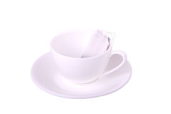 White cup and tea bag Royalty Free Stock Images