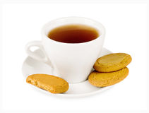 White cup of tea with biscuits Royalty Free Stock Image