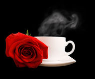 White cup of tea or coffee and red rose isolated Royalty Free Stock Photos