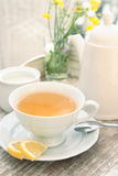 White cup of tea composition Royalty Free Stock Photo