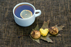 White cup of tea with lemon and biscuits Royalty Free Stock Photos