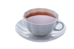 White cup of tea. On a saucer Royalty Free Stock Photography