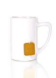 White cup with teabag Royalty Free Stock Images