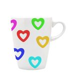 White cup white colorful hearts isolated on white Stock Image