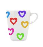 White cup white colorful hearts isolated on white Stock Photo