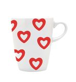 White cup white red hearts isolated on white Royalty Free Stock Image