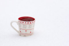 White cup of a winter landscape, outdoors Royalty Free Stock Image