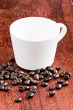 White cup on wood table Stock Image