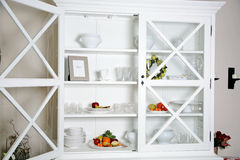 White Cupboard. An wooden old-fashioned cupboard Royalty Free Stock Photo