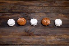 White cupcake and marshmallow Royalty Free Stock Photo