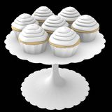 White cupcakes on stand - 3d computer generated Stock Photography