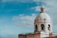 The white cupola of the National Pantheon in Lisbon with blue sky and some clouds in the background. Lisboa Lissabon.  stock photos