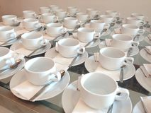 White cups of coffee. Arrange to support all people during a siminar Stock Photos