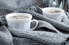2 white cups of coffee close-up Royalty Free Stock Photos