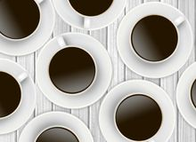 White cups of coffee on wooden Stock Photography