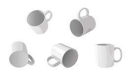 White cups. White cup in different positions for branding Stock Photography