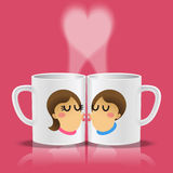 White cups with loving couple kissing. Loving couple kissing on two mugs with steam in heart shape Royalty Free Stock Photo