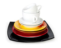 White cups with saucers. On white Royalty Free Stock Photography