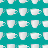 White cups seamless pattern 3. Vector illustration of white blank cups on a turquoise background stock illustration