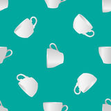 White cups seamless pattern 1. Vector illustration of white blank cups on a turquoise background Stock Photo