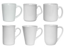 White cups set isolated on white Royalty Free Stock Image