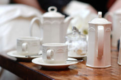 White cups and teapot set Royalty Free Stock Photography