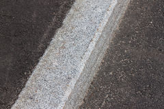 White curb and asphalt road Stock Photos