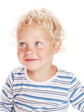 White curly hair and blue eyes baby stock photos