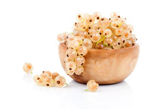 White currant fruit in a wood bowl Stock Images