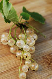 White currant. With leaves on wooden ground Royalty Free Stock Image