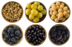 White currants, yellow raspberries, yellow plum, blackberries, black curran. Yellow and black berries isolated on white background. Collage of different fruits Stock Photo