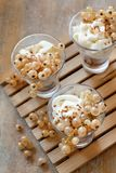 White currants and yogurt. In a glass close up Royalty Free Stock Photography