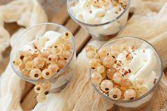 White currants and yogurt. In a glass close up Stock Images