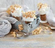 White currants and yogurt. In a glass close up Royalty Free Stock Image