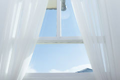 White curtain on the window Stock Image