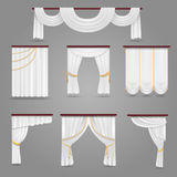 White curtains drapery for wedding room and windows vector set Stock Photography