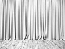 White curtains and floor background royalty free stock photography
