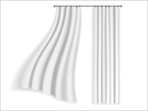 White curtains fluttering Stock Photos