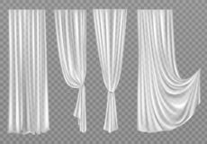 White curtains isolated on transparent background stock photos